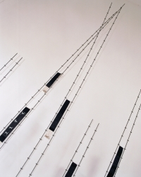 <p>Dialogue (detail) - Tapestry weaving, barbed wire and steel - 215 x 211 x 45 cms</p>