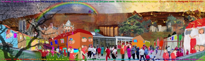 <p>Large format digital print and interactive media project by Alastair Duncan with Gwaunfarren Primary School, Merthyr Tydfil.</p>