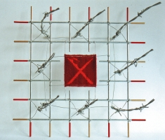 <p>Difficult Times - Tapestry weaving, barbed wire and steel - 30 x 30 x 17 cms</p>