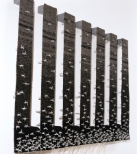 <p>Conflicting Arguments - Tapestry weaving, barbed wire and steel - 85 x 120 x 10 cms   Available</p>