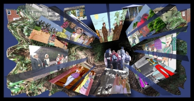 <p>Large format digital print produced as part of the HyperAction interactive history project with Thornhill Primary School, Cwmbran - Thornhill Through the Wormhole.</p>