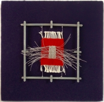 <p>Tapestry weaving, wire and steel.  19.5 x 19.5 x 3 cms</p>